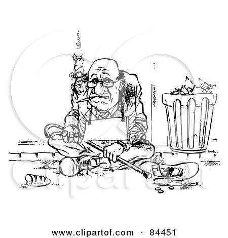 Royalty-Free (RF) Clipart Illustration of a Black And White Sketch Of A Broke Man Smoking A Cigarette And Wearing A Blank Sign By A Trash Can by Alex Bannykh
