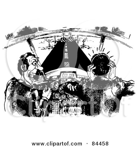 Royalty-Free (RF) Clipart Illustration of a Black And White Sketch Of Pilots Nearing The End Of The Runway, Freaking Out by Alex Bannykh