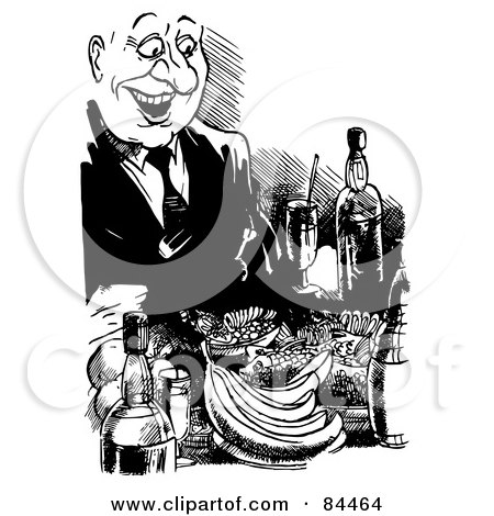 Royalty-Free (RF) Clipart Illustration of a Black And White Sketch Of A Happy Man Feasting by Alex Bannykh