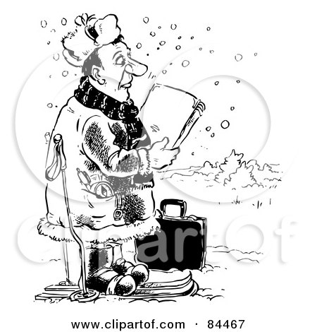 Royalty-Free (RF) Clipart Illustration of a Black And White Sketch Of A Salesman Skiing In The Snow by Alex Bannykh