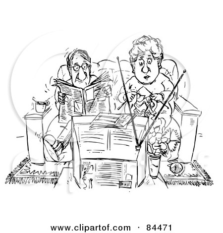 Royalty-Free (RF) Clipart Illustration of a Black And White Sketch Of A Couple Reading And Knitting On A Couch In Front Of A Television by Alex Bannykh