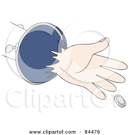 Royalty-Free (RF) Clipart Illustration of a Hand Reaching For a Coin by Alex Bannykh