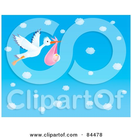 Royalty-Free (RF) Clipart Illustration of a Stork Flying A Baby Girl Through A Blue Sky With Puffy White Clouds by Alex Bannykh
