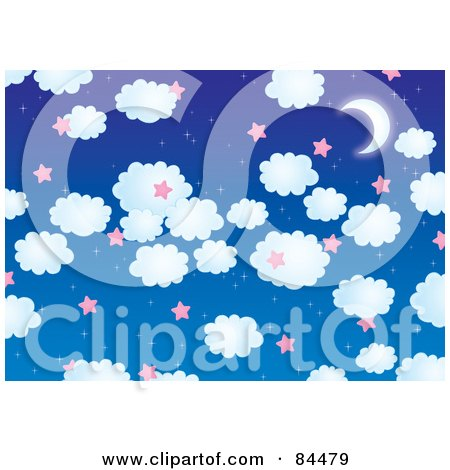Royalty-Free (RF) Clipart Illustration of a Blue Night Sky Background With Puffy Clouds, Pink Stars And A Crescent Moon by Alex Bannykh