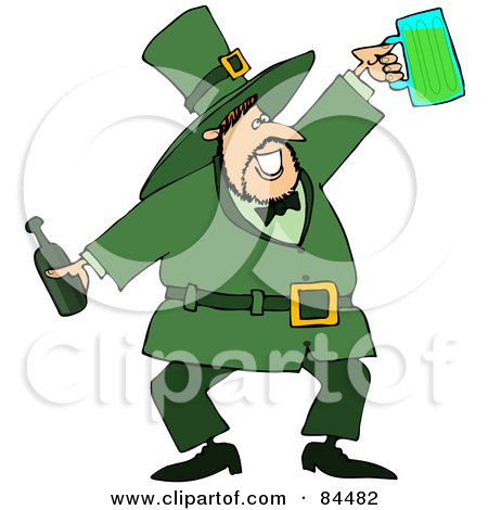 Royalty-Free (RF) Clipart Illustration of a Jolly Leprechaun Holding A Beer Bottle And Mug by djart