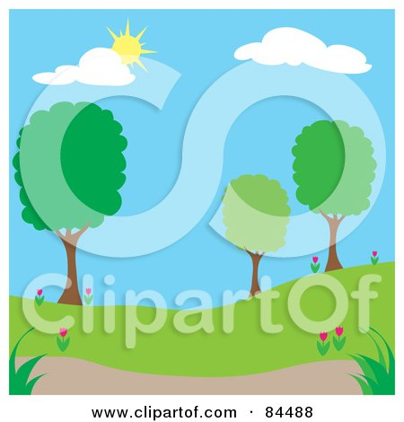 Royalty-Free (RF) Clipart Illustration of a Sun Shining Down On A Spring Time Park With Trees - Version 1 by Pams Clipart