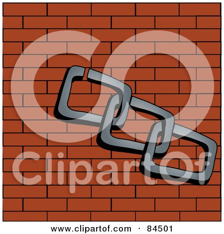 Royalty-Free (RF) Clipart Illustration of Linked Chains Over A Brick Wall by Pams Clipart