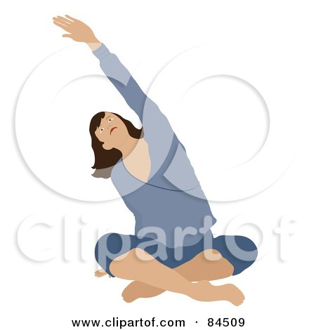 Royalty-Free (RF) Clipart Illustration of a Brunette Caucasian Woman Sitting Cross Legged On The Floor And Stretching While Doing Yoga by Pams Clipart