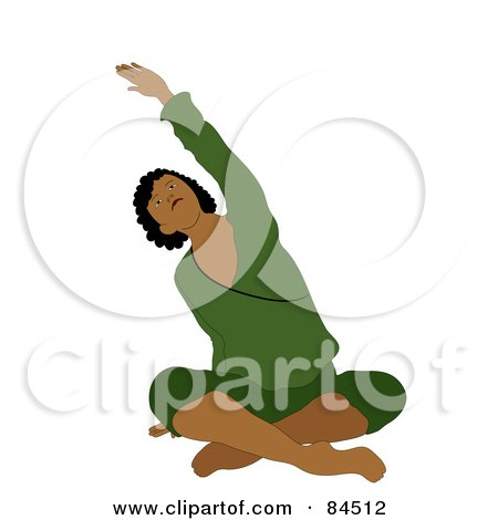 Royalty-Free (RF) Clipart Illustration of a Black Woman Sitting Cross Legged On The Floor And Stretching While Doing Yoga by Pams Clipart