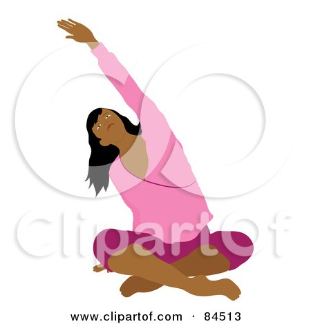 Royalty-Free (RF) Clipart Illustration of a Middle Eastern Woman Sitting Cross Legged On The Floor And Stretching While Doing Yoga by Pams Clipart