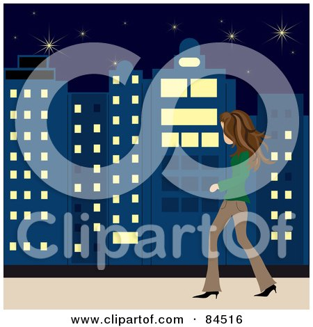 Royalty-Free (RF) Clipart Illustration of a Casual Brunette Caucasian Woman Walking On A City Sidewalk At Night by Pams Clipart