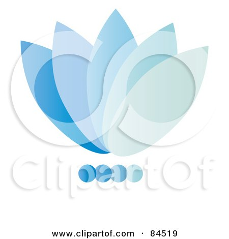 Royalty-Free (RF) Clipart Illustration of a Gradient Blue Floral Logo Design by Pams Clipart