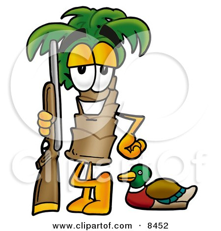 Clipart Picture of a Palm Tree Mascot Cartoon Character Duck Hunting, Standing With a Rifle and Duck by Toons4Biz