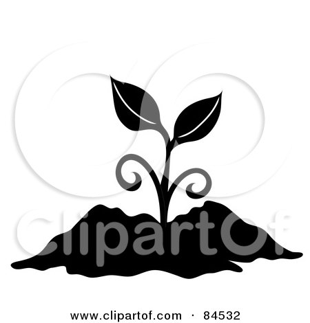 Royalty-Free (RF) Clipart Illustration of a Black And White Sprouting Plant In Soil by Pams Clipart
