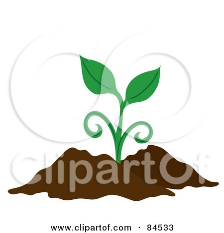 Royalty-Free (RF) Clipart Illustration of a Green Sprouting Plant In Dirt by Pams Clipart