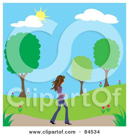 Royalty-Free (RF) Clipart Illustration of a Brunette Caucasian Woman Walking On A Path Through A Park On A Spring Day by Pams Clipart