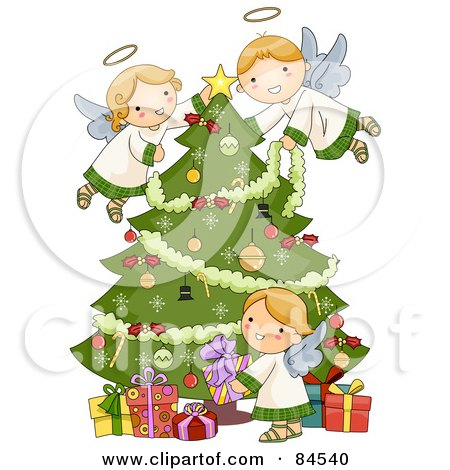 Three Adorable Angels Trimming A Christmas Tree And Arranging Presents Posters, Art Prints