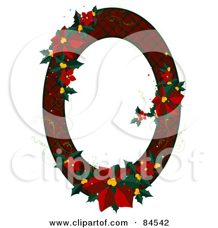 Royalty-Free (RF) Clipart Illustration of a Red Plaid Oval Christmas Frame With Poinsettias by BNP Design Studio