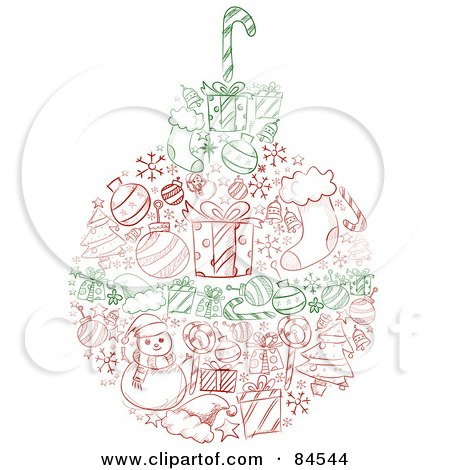 Royalty-Free (RF) Clipart Illustration of a Red And Green Sketched Christmas Ball With Items by BNP Design Studio