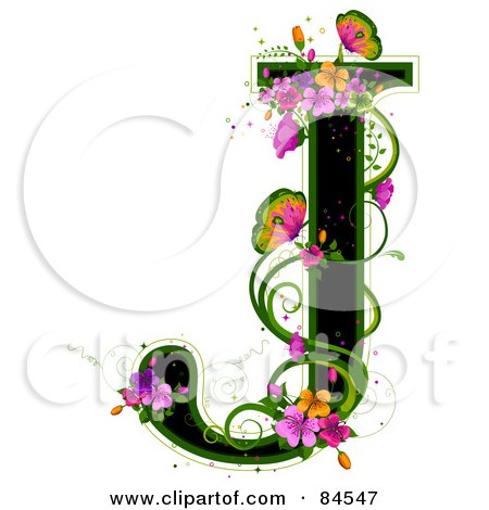 Royalty-Free (RF) Clipart Illustration of a Black Capital Letter J Outlined In Green, With Colorful Flowers And Butterflies by BNP Design Studio