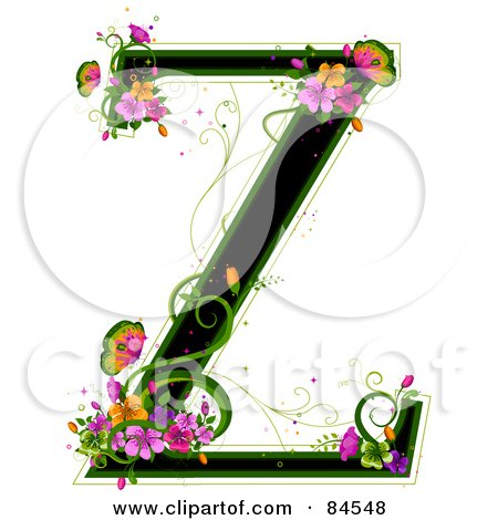 Royalty-Free (RF) Clipart Illustration of a Black Capital Letter Z Outlined In Green, With Colorful Flowers And Butterflies by BNP Design Studio