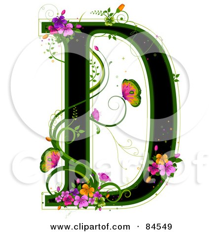 Royalty-Free (RF) Clipart Illustration of a Black Capital Letter D Outlined In Green, With Colorful Flowers And Butterflies by BNP Design Studio