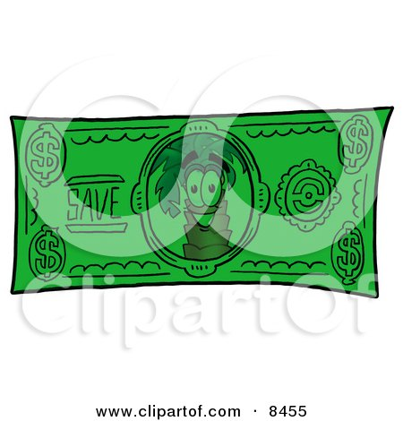 Clipart Picture of a Palm Tree Mascot Cartoon Character on a Dollar Bill by Toons4Biz