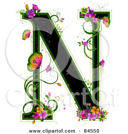 Royalty-Free (RF) Clipart Illustration of a Black Capital Letter N Outlined In Green, With Colorful Flowers And Butterflies by BNP Design Studio