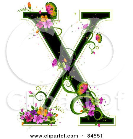 Royalty-Free (RF) Clipart Illustration of a Black Capital Letter X Outlined In Green, With Colorful Flowers And Butterflies by BNP Design Studio