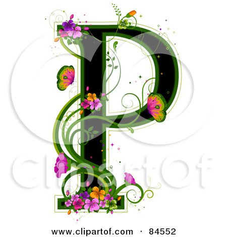 Royalty-Free (RF) Clipart Illustration of a Black Capital Letter P Outlined In Green, With Colorful Flowers And Butterflies by BNP Design Studio