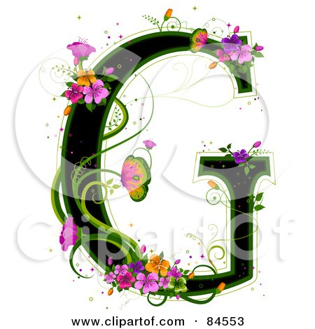 Royalty-Free (RF) Clipart Illustration of a Black Capital Letter G Outlined In Green, With Colorful Flowers And Butterflies by BNP Design Studio