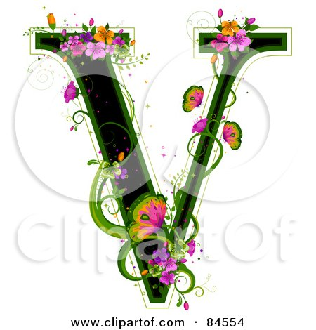 Royalty-Free (RF) Clipart Illustration of a Black Capital Letter V Outlined In Green, With Colorful Flowers And Butterflies by BNP Design Studio