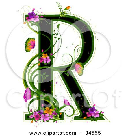 Royalty-Free (RF) Clipart Illustration of a Black Capital Letter R Outlined In Green, With Colorful Flowers And Butterflies by BNP Design Studio