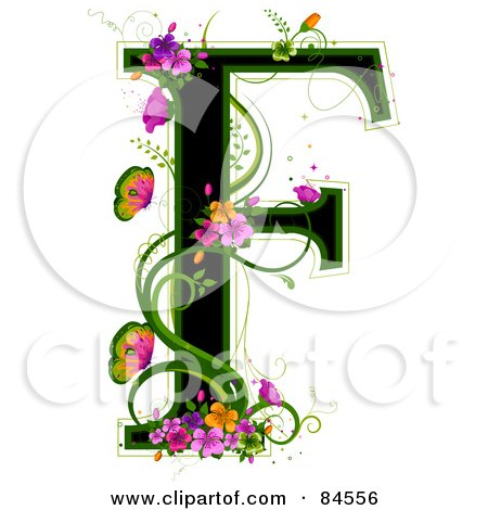 Royalty-Free (RF) Clipart Illustration of a Black Capital Letter F Outlined In Green, With Colorful Flowers And Butterflies by BNP Design Studio