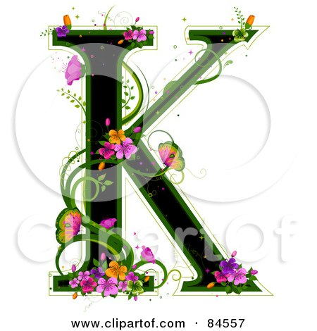 Royalty-Free (RF) Clipart Illustration of a Black Capital Letter K Outlined In Green, With Colorful Flowers And Butterflies by BNP Design Studio