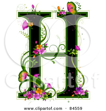 Royalty-Free (RF) Clipart Illustration of a Black Capital Letter H Outlined In Green, With Colorful Flowers And Butterflies by BNP Design Studio