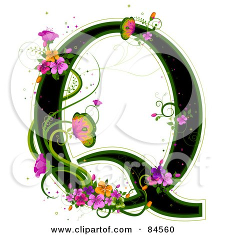 Royalty-Free (RF) Clipart Illustration of a Black Capital Letter Q Outlined In Green, With Colorful Flowers And Butterflies by BNP Design Studio