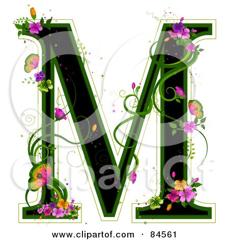 Royalty-Free (RF) Clipart Illustration of a Black Capital Letter M Outlined In Green, With Colorful Flowers And Butterflies by BNP Design Studio