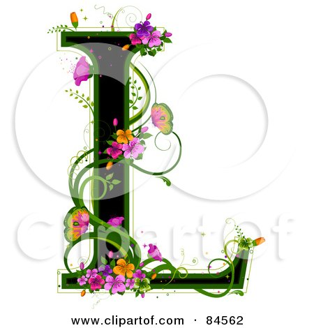 Royalty-Free (RF) Clipart Illustration of a Black Capital Letter L Outlined In Green, With Colorful Flowers And Butterflies by BNP Design Studio