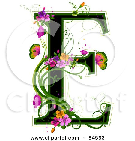 Royalty-Free (RF) Clipart Illustration of a Black Capital Letter E Outlined In Green, With Colorful Flowers And Butterflies by BNP Design Studio