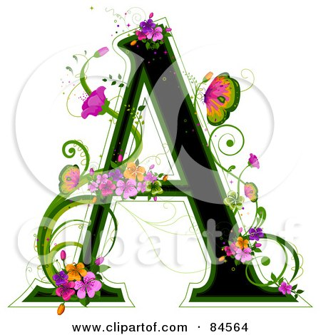 Royalty-Free (RF) Clipart Illustration of a Black Capital Letter A Outlined In Green, With Colorful Flowers And Butterflies by BNP Design Studio