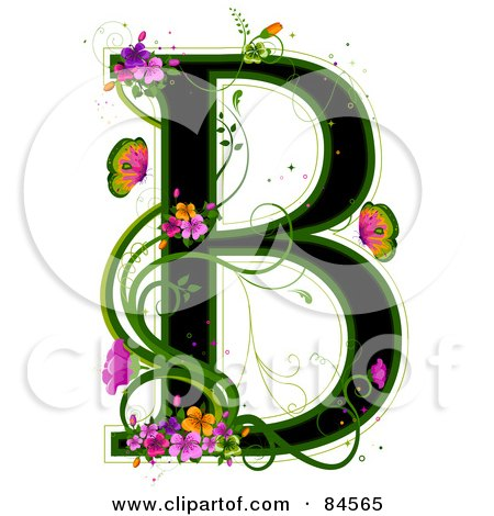 Royalty-Free (RF) Clipart Illustration of a Black Capital Letter B Outlined In Green, With Colorful Flowers And Butterflies by BNP Design Studio