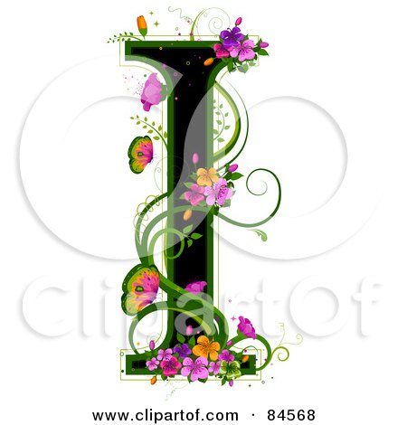Royalty-Free (RF) Clipart Illustration of a Black Capital Letter I Outlined In Green, With Colorful Flowers And Butterflies by BNP Design Studio