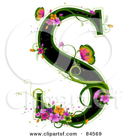 Royalty-Free (RF) Clipart Illustration of a Black Capital Letter S Outlined In Green, With Colorful Flowers And Butterflies by BNP Design Studio