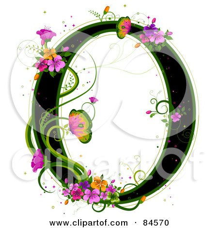 Royalty-Free (RF) Clipart Illustration of a Black Capital Letter O Outlined In Green, With Colorful Flowers And Butterflies by BNP Design Studio