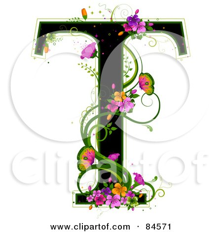 Royalty-Free (RF) Clipart Illustration of a Black Capital Letter T Outlined In Green, With Colorful Flowers And Butterflies by BNP Design Studio