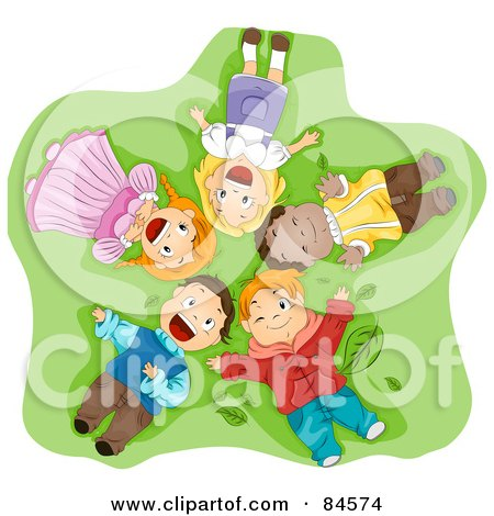 Royalty-Free (RF) Clipart Illustration of a Group Of Happy Diverse Children Laying On Their Backs In Grass, Looking Up by BNP Design Studio