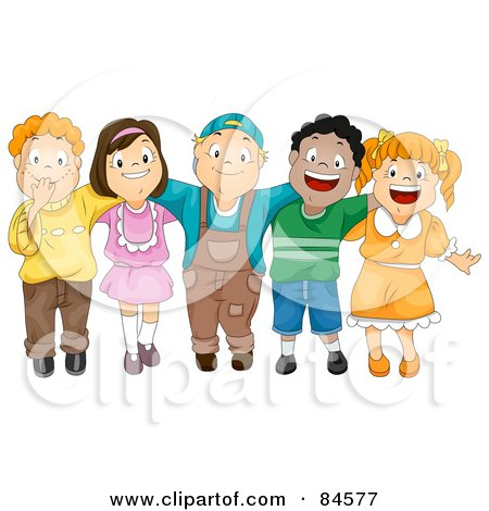 Royalty-Free (RF) Clipart Illustration of a Group Of Five Happy Diverse Children With Their Arms Around Each Other by BNP Design Studio