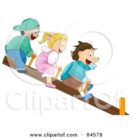 Royalty-Free (RF) Clipart Illustration of Three Happy Children Riding On A See Saw by BNP Design Studio