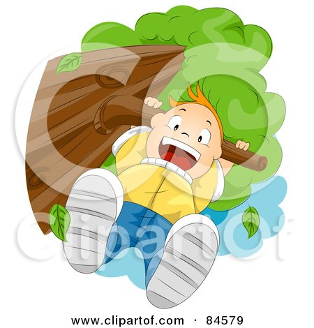 Royalty-Free (RF) Clipart Illustration of a Happy Boy Hanging From A Tree Branch by BNP Design Studio